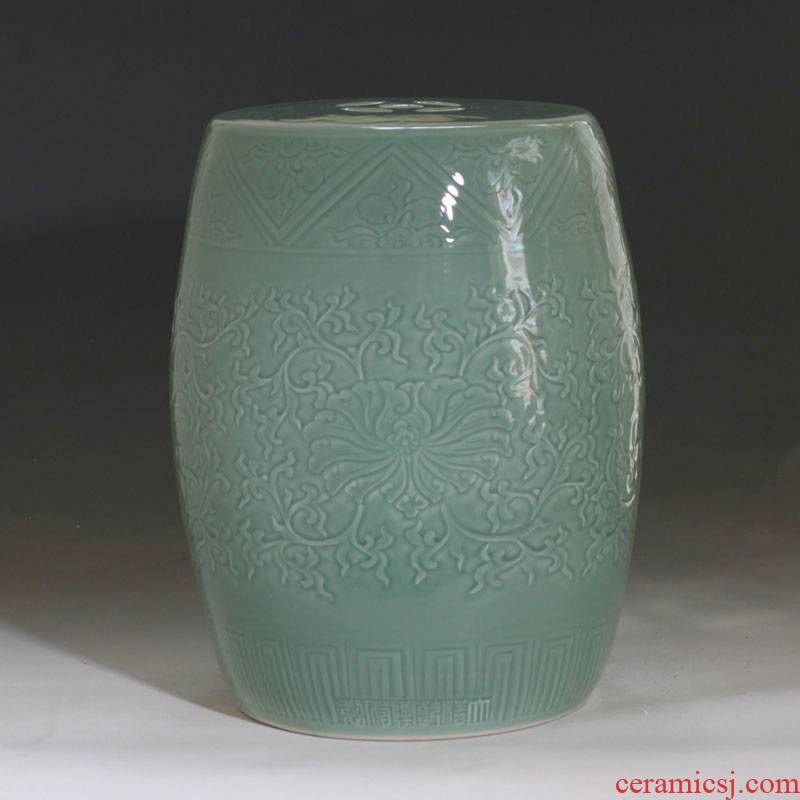 Jingdezhen porcelain shadow green carved bench avant - garde fashion mall porcelain who, villa and courtyard move who