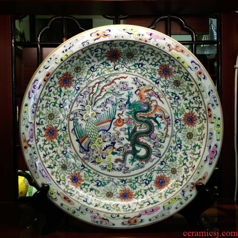 Antique hand - made jingdezhen blue and white buckets color colorful porcelain enamel hang dish sit plate decoration plate collection furnishing articles