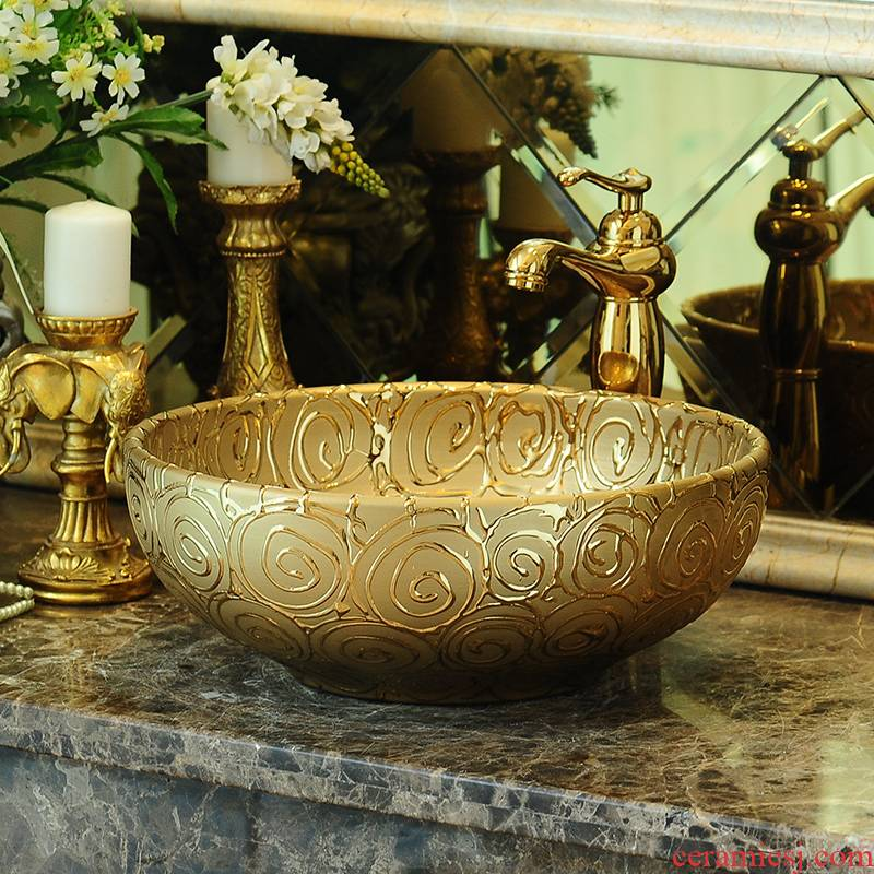 The rain spring basin art of jingdezhen ceramic table round Europe type toilet lavatory sink golden carving