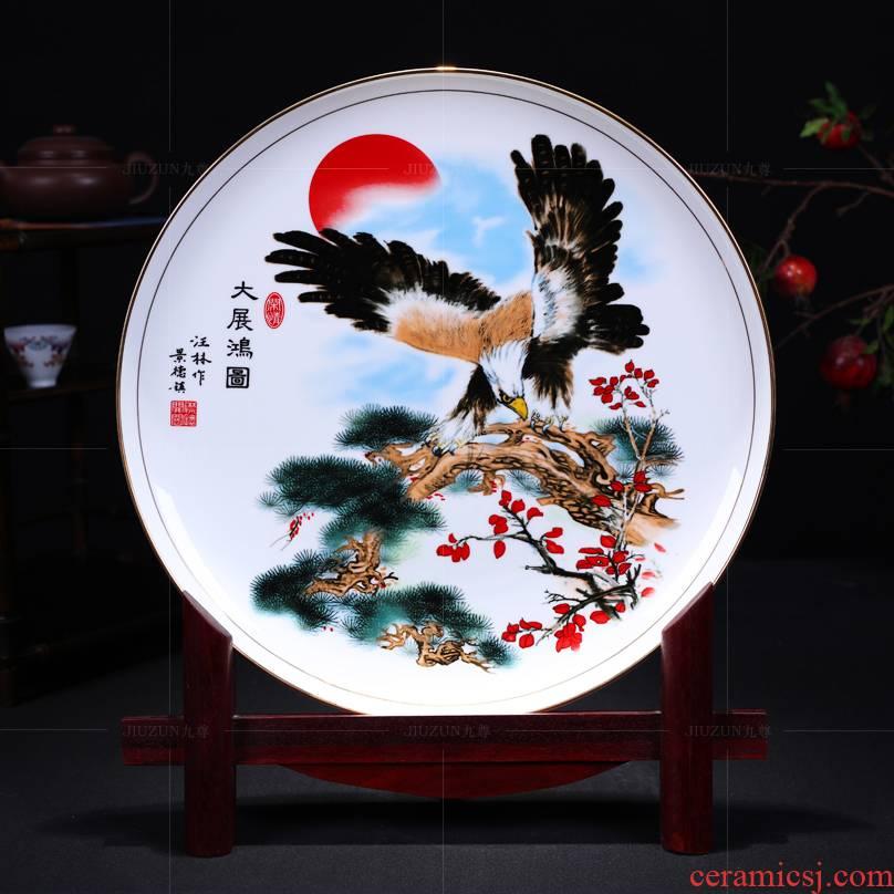 Jingdezhen ceramics decoration hanging dish of modern Chinese style living room see future sat dish dish crafts