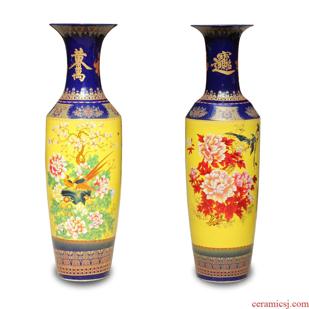 Jingdezhen ceramics yellow flower rich Chinese style flower on the lobby floor of the big vase was sitting room adornment is placed
