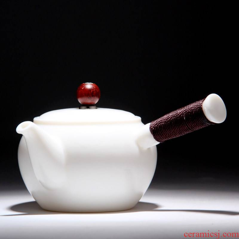 Mingyuan FengTang dehua Bai Quan, manual can be inverted kung fu tea kettle frozen jade porcelain side tied pot line against the hot money