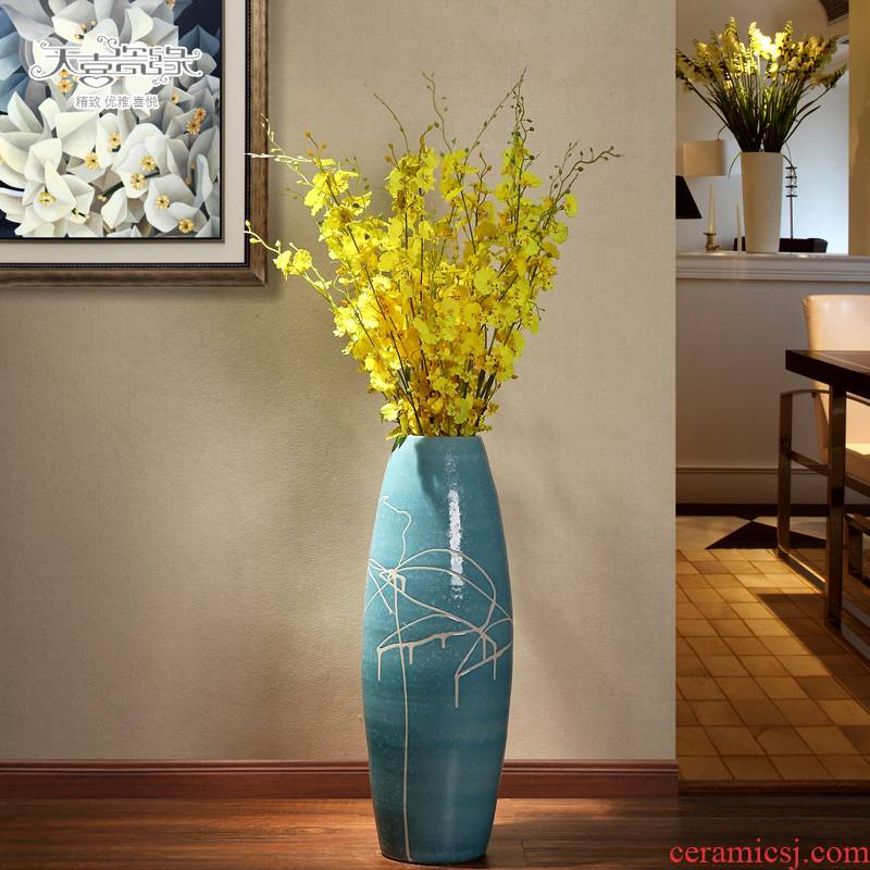 The sitting room of large vase continental contracted and I jingdezhen ceramics dried flowers, flower arrangement, household act The role ofing is tasted furnishing articles