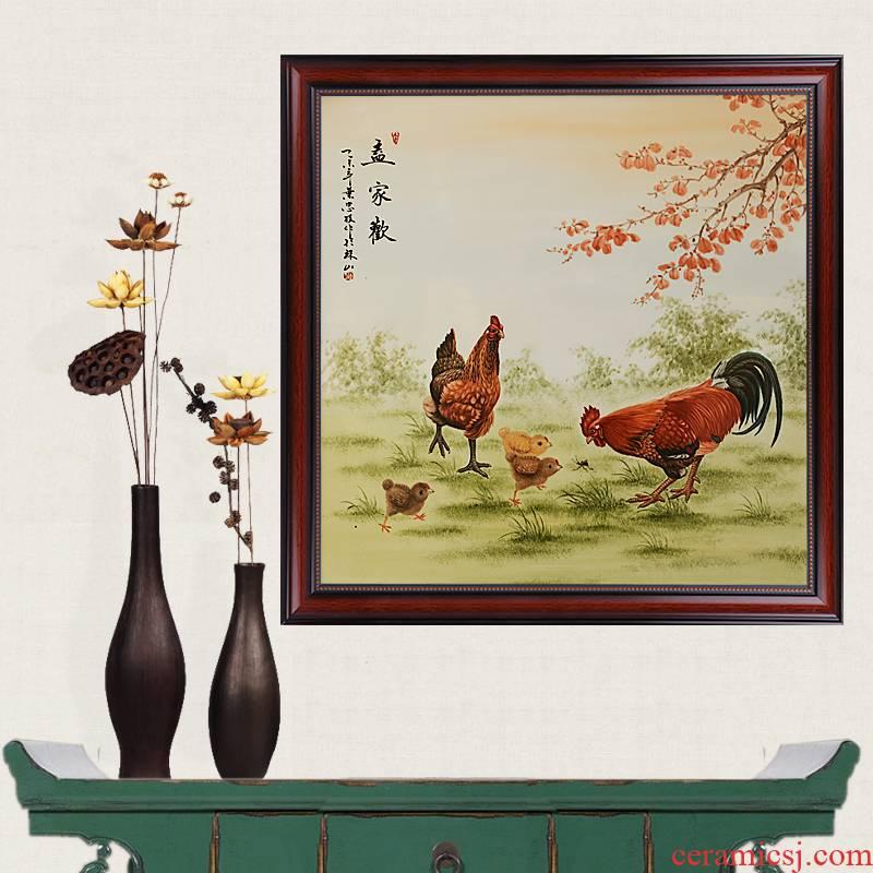 Celebrity famous jingdezhen ceramics powder enamel handpainted family porcelain partition handicraft painting murals sitting room