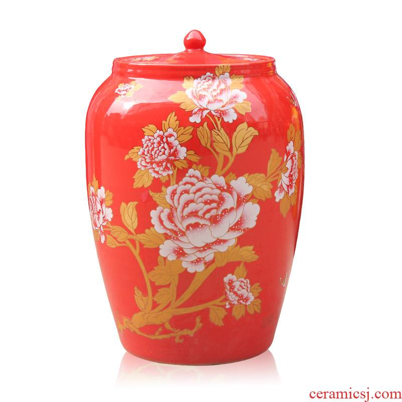 Z015 jingdezhen ceramic barrel with cover ricer box storage tank ceramic household barrel pastel barrel