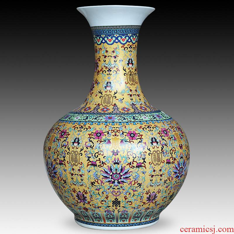 The Sitting room adornment of jingdezhen ceramics enamel color TV ark, receptacle furnishing articles Chinese modern large vase