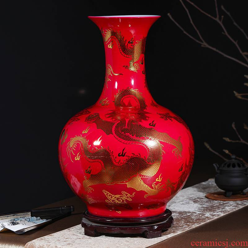 Jingdezhen ceramics of large vase furnishing articles flower arranging Chinese style living room TV cabinet porch place ornament
