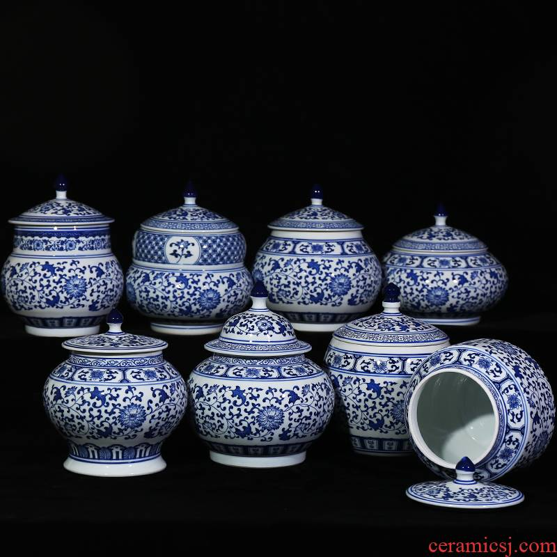 Jingdezhen blue and white ceramics seal pot Chinese candy jar home sitting room storage pot cover kitchen furnishing articles