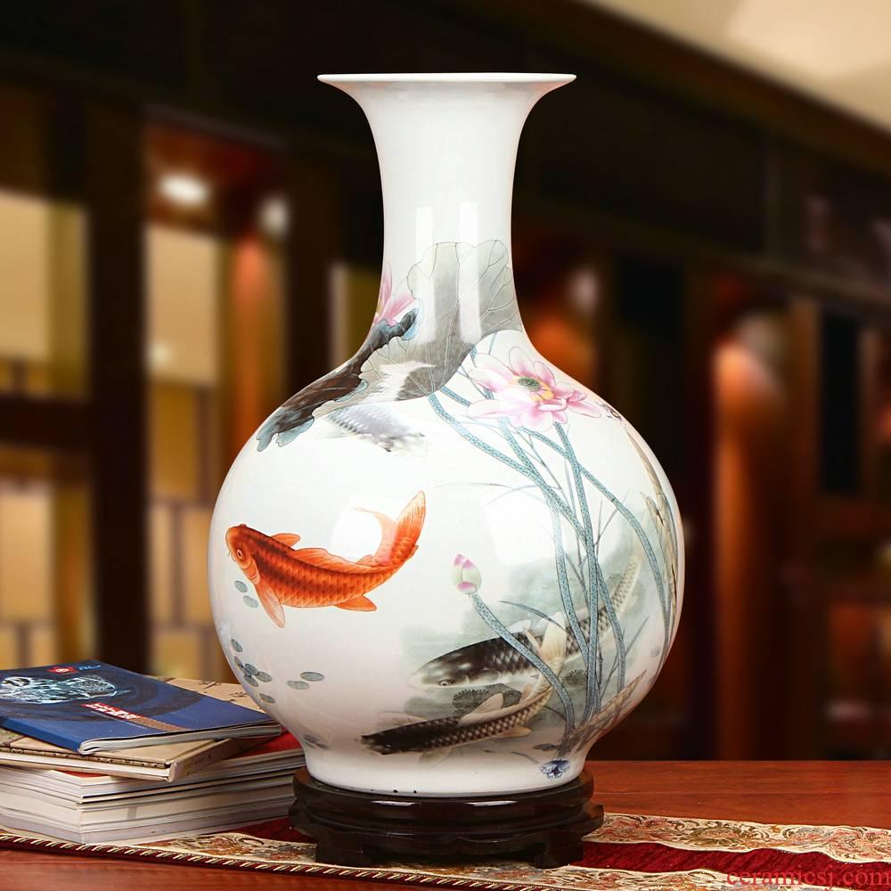Jingdezhen ceramics powder enamel more fish every year the design of large vases, modern rural household furnishing articles