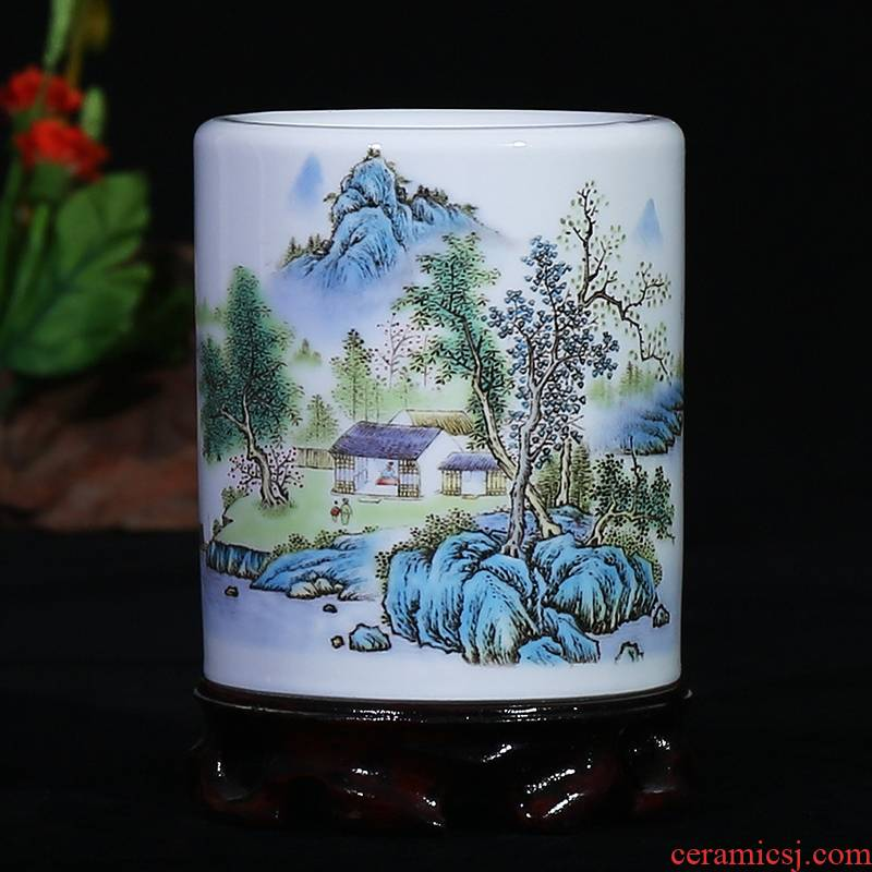 Jingdezhen ceramic famille rose porcelain vase landscape study modern household brush pot office furnishing articles of classical arts and crafts