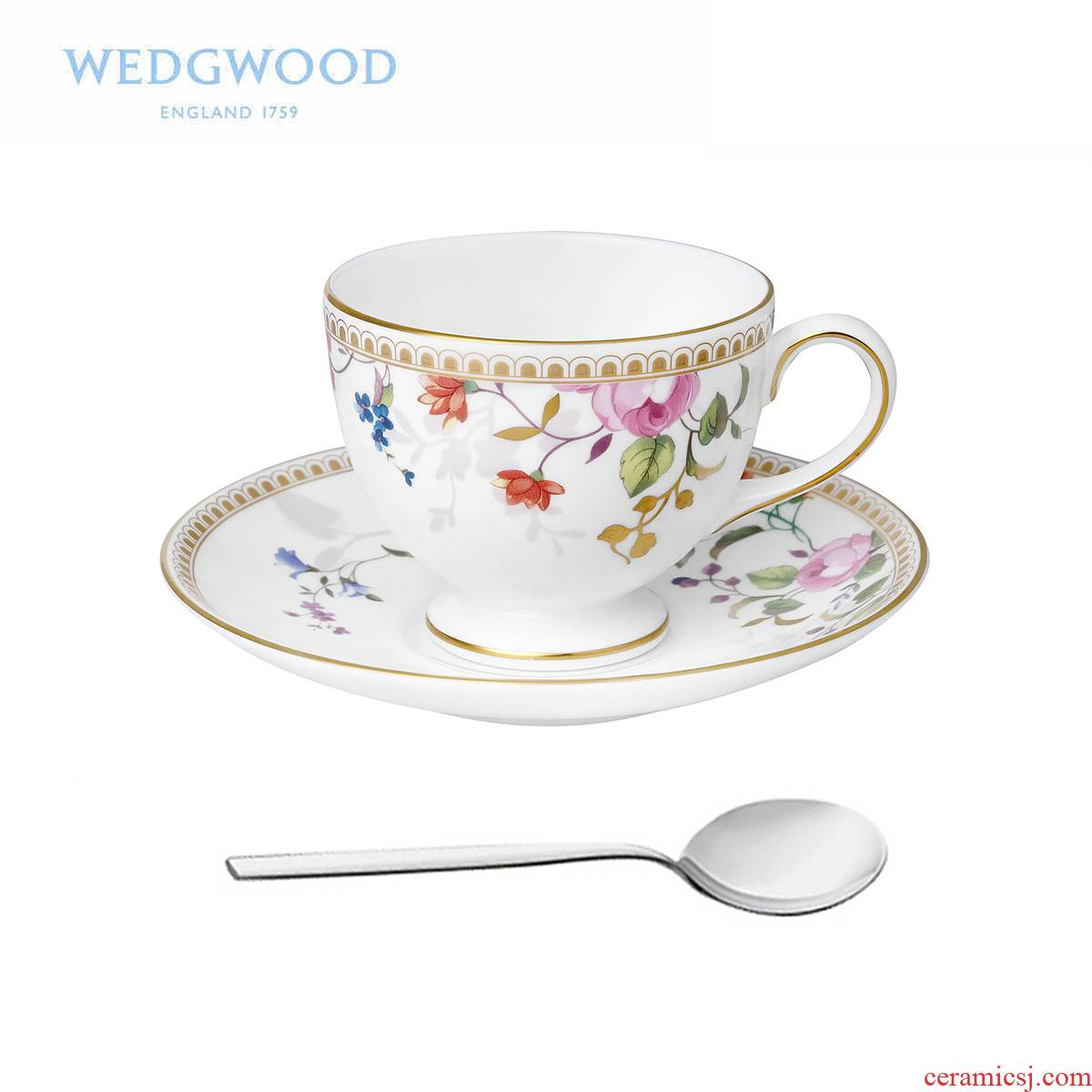 The British Wedgwood Rose Gold Gold Rose ipads porcelain cup standard + WMF tea spoon