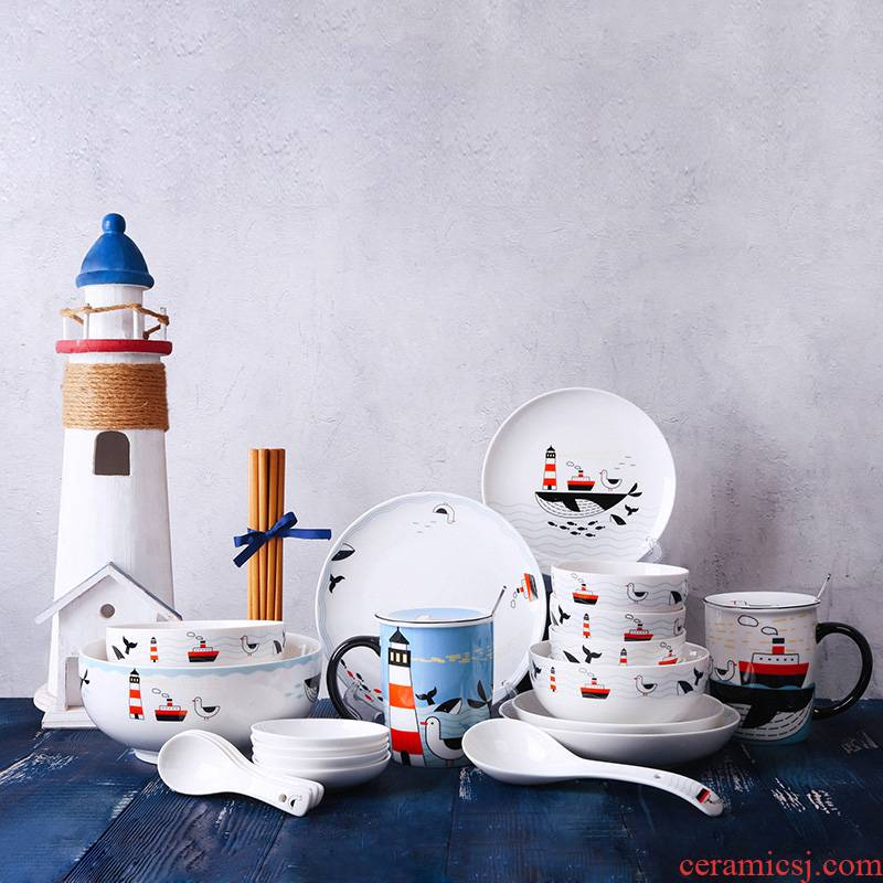 Sailing 4/6 series of northern European ceramic dishes suit household who dream combination tableware dishes of eating Chinese dishes