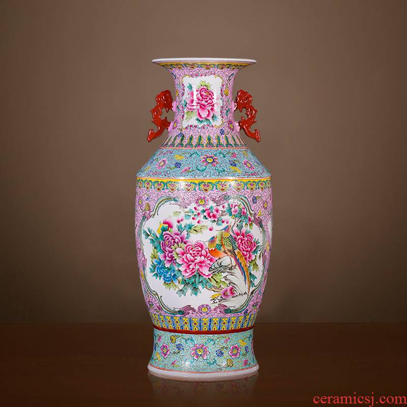 Jingdezhen ceramics antique hand - made landing peony vases, classical Chinese study adornment is placed large living room