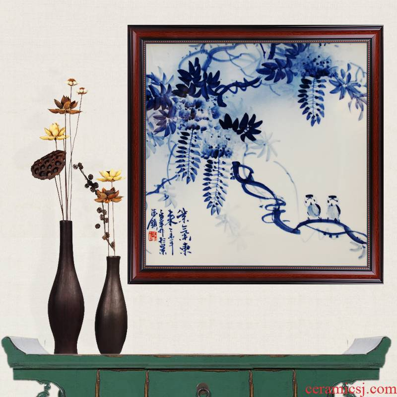 Blue and white hand - made sabingga sukdun dergici jimbi porcelain jingdezhen ceramics famous masterpieces partition handicraft painting murals sitting room