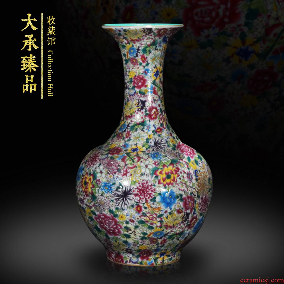 Antique Chinese jingdezhen ceramics vase powder enamel enamel vase decoration home decoration handicraft furnishing articles
