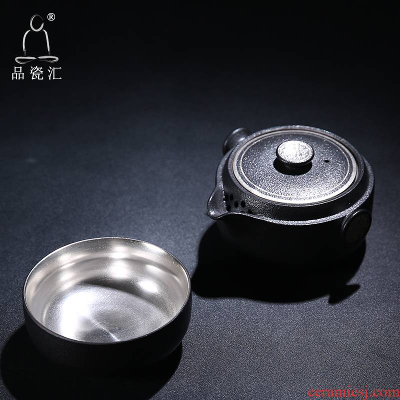 The Product wufu crack cup a pot of two glass ceramic porcelain remit travel kung fu tea cup teapot portable office