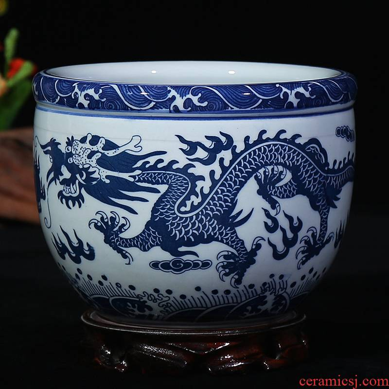 Blue and white porcelain of jingdezhen ceramics decoration cylinder storage tank sundry as cans sitting room place flowerpot dragon playing the study bead
