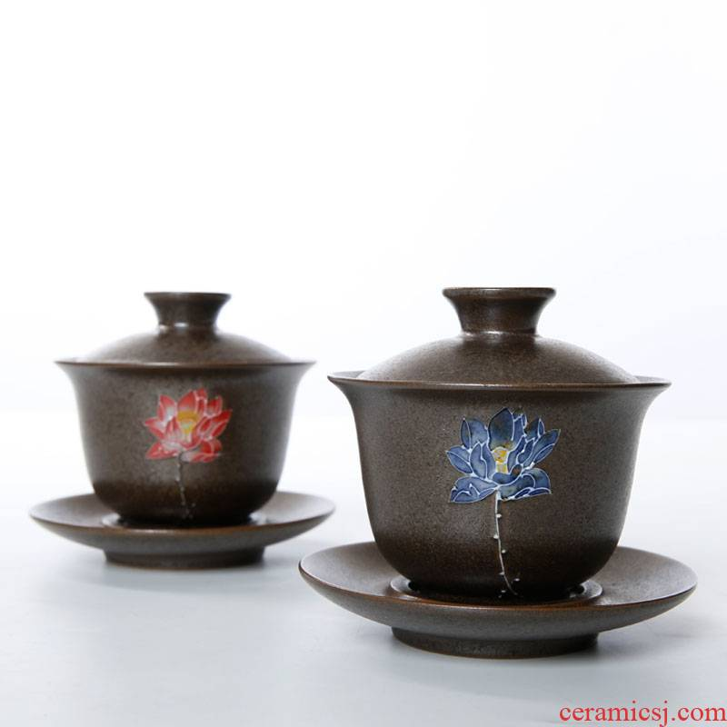 Porcelain heng tong kung fu tea set coarse pottery tureen tea cup bowl large ceramic accommodate to only three bowl of tea taking