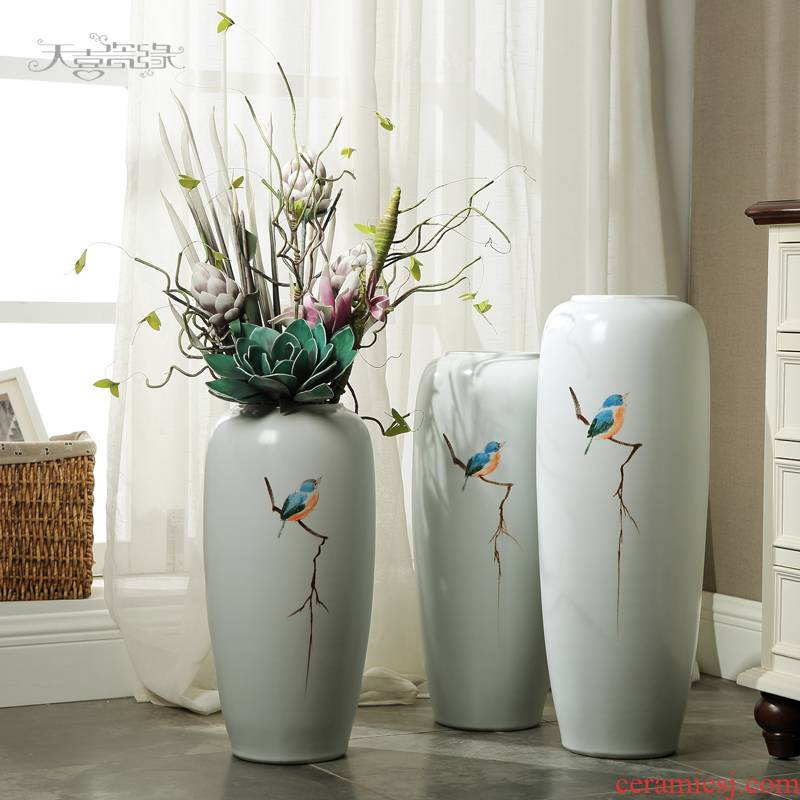 Jingdezhen ceramic floor decoration I and contracted sitting room of new Chinese style of the big vase household TV ark, flower arranging furnishing articles