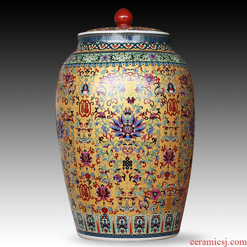 Jingdezhen ceramics large colored enamel seal pot sitting room place candy jar household act the role ofing is tasted barrel storage tank