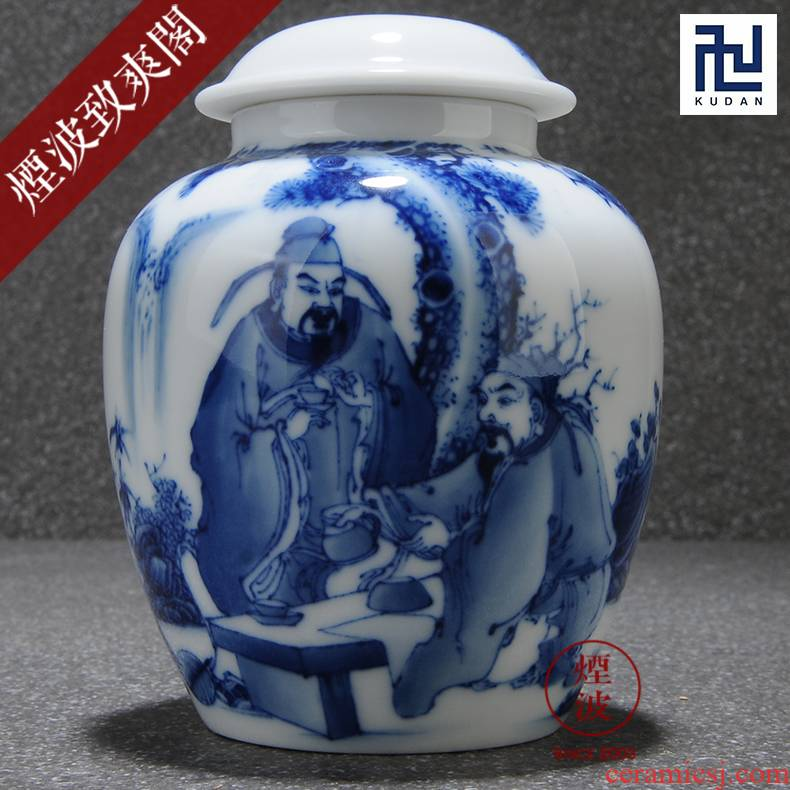 Those blue and white porcelain jingdezhen nine calcinations hand - made admirable figure porcelain literati tea caddy fixings