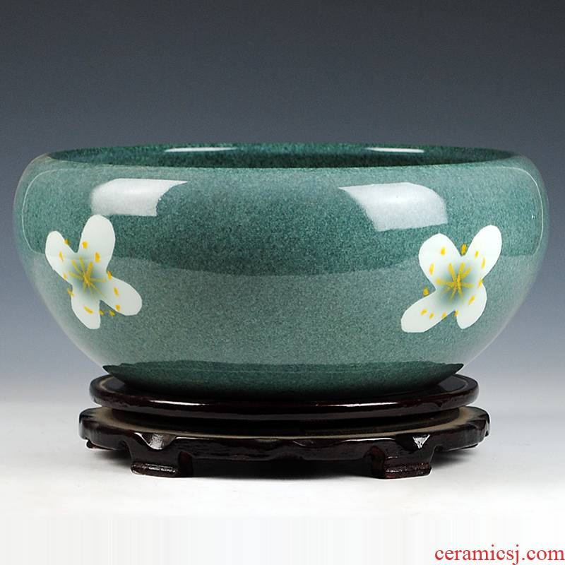 Jingdezhen ceramics blue color glaze shallow daikin aquarium tortoise cylinder refers to basin of the lotus pond lily furnishing articles