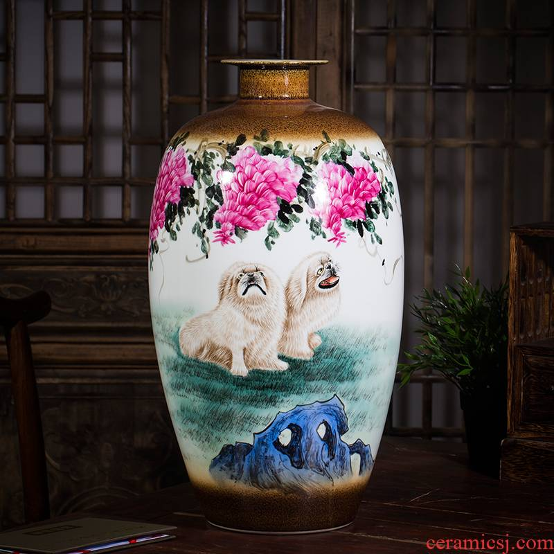 Jingdezhen ceramics powder enamel famous hand - made vases live dog home rich ancient frame sitting room adornment is placed