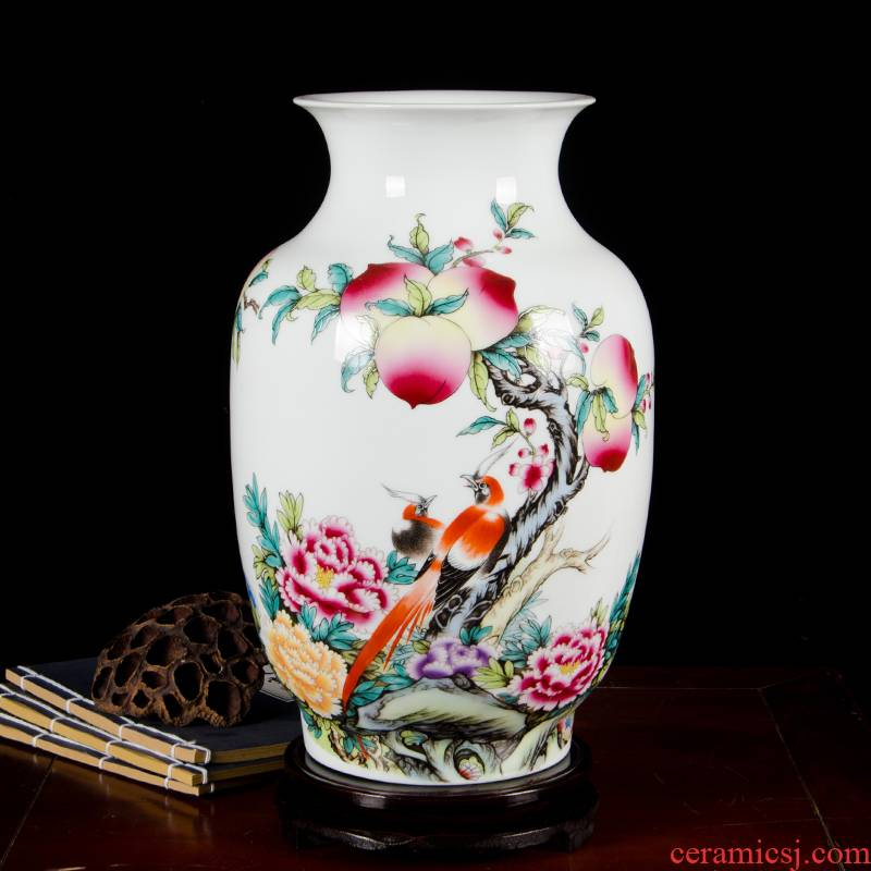 Cb96 jingdezhen ceramics powder enamel vase flower arranging, home furnishing articles sitting room adornment handicraft wealth and longevity