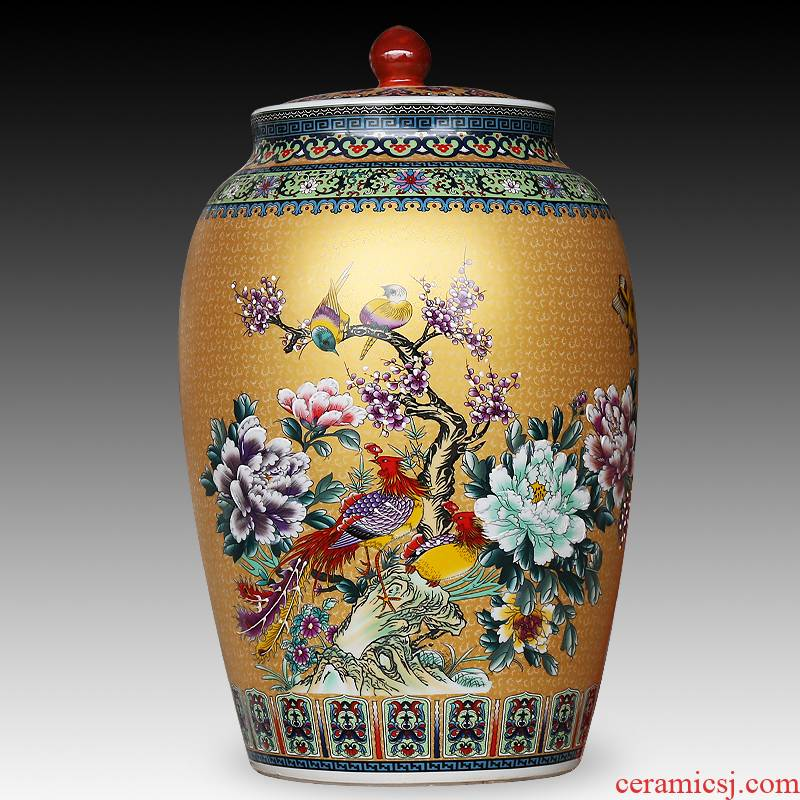 Jingdezhen ceramics large colored enamel seal pot sitting room place, household act the role ofing is tasted barrel candy storage tank