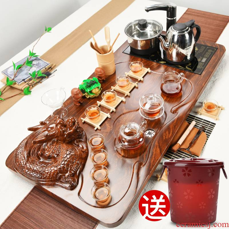ZongTang ceramic purple kung fu tea sets tea four unity household automatic tea taking of a complete set of solid wood tea tray