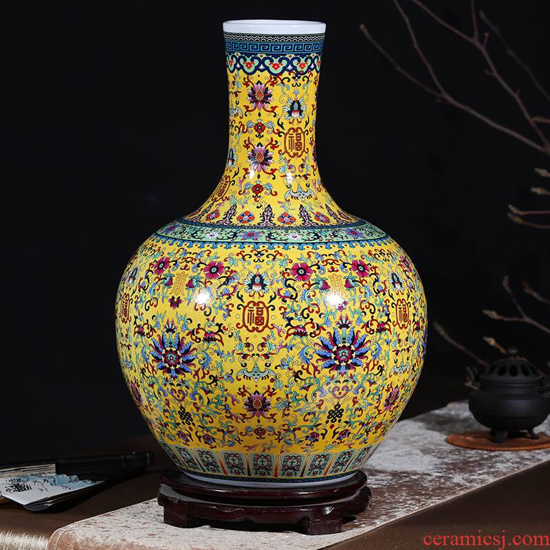 Jingdezhen ceramics colored enamel of large vases, flower, flower arranging, the sitting room porch decoration ceramics furnishing articles