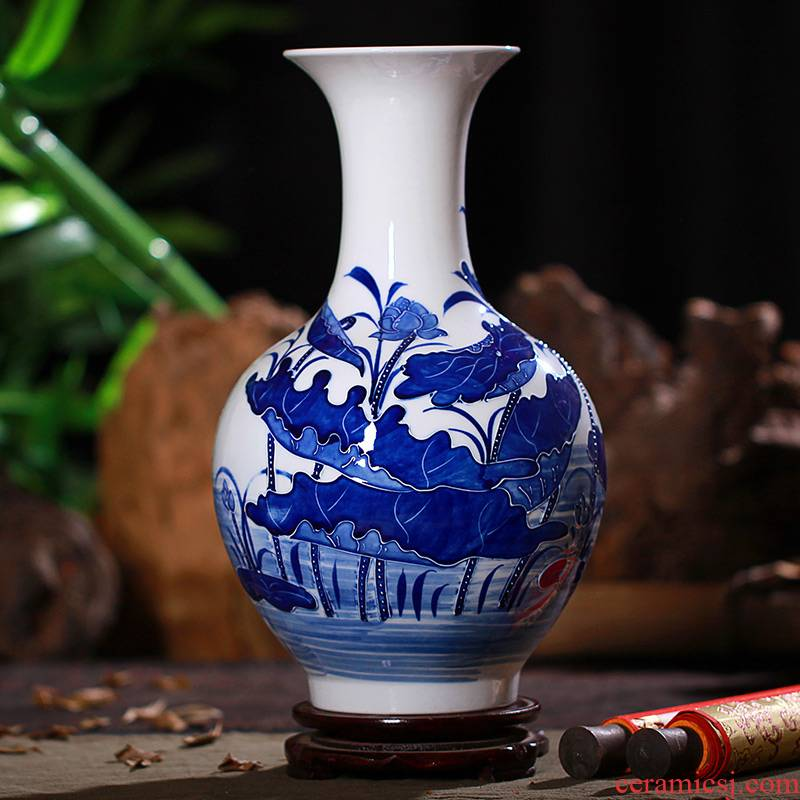 Jingdezhen ceramic vase implement green lotus carving rhyme vase modern classical home sitting room adornment handicraft furnishing articles