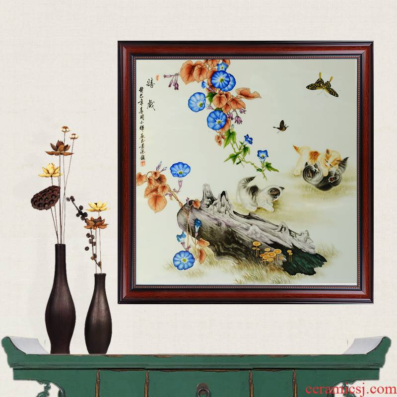 Jingdezhen ceramics masterpieces pastel painting murals play hand - made porcelain wooden partition, modern household crafts are sitting room