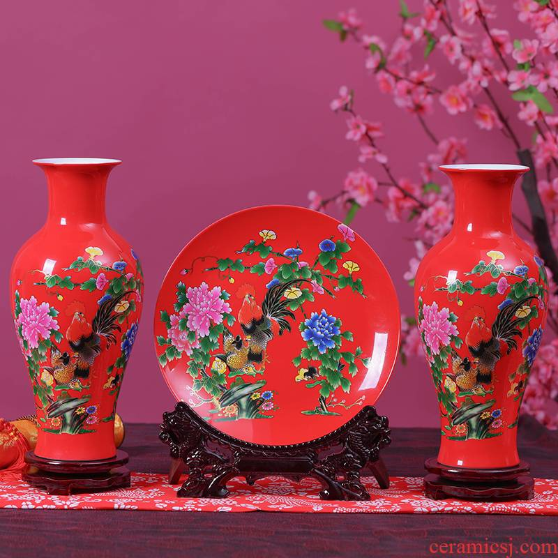 Jingdezhen ceramics China red vase furnishing articles sitting room flower arranging creative rooster home decoration of Chinese style three - piece suit