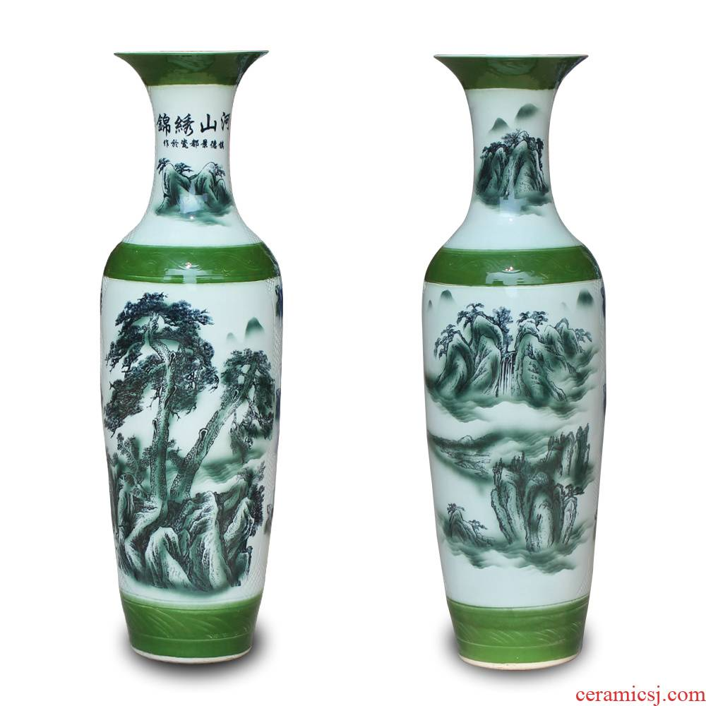 Jingdezhen blue and white landscape jin was the French ceramics vase classical Chinese style lobby sitting room adornment