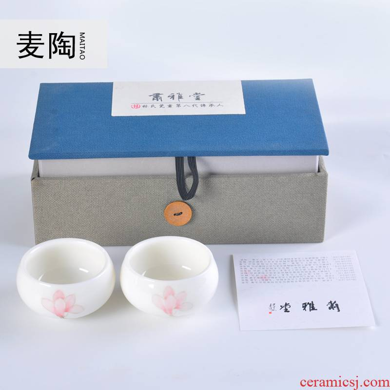 The Personal MaiTao hand - made flowers white porcelain tea cups ceramic kung fu tea master wen xiang small bowl cups
