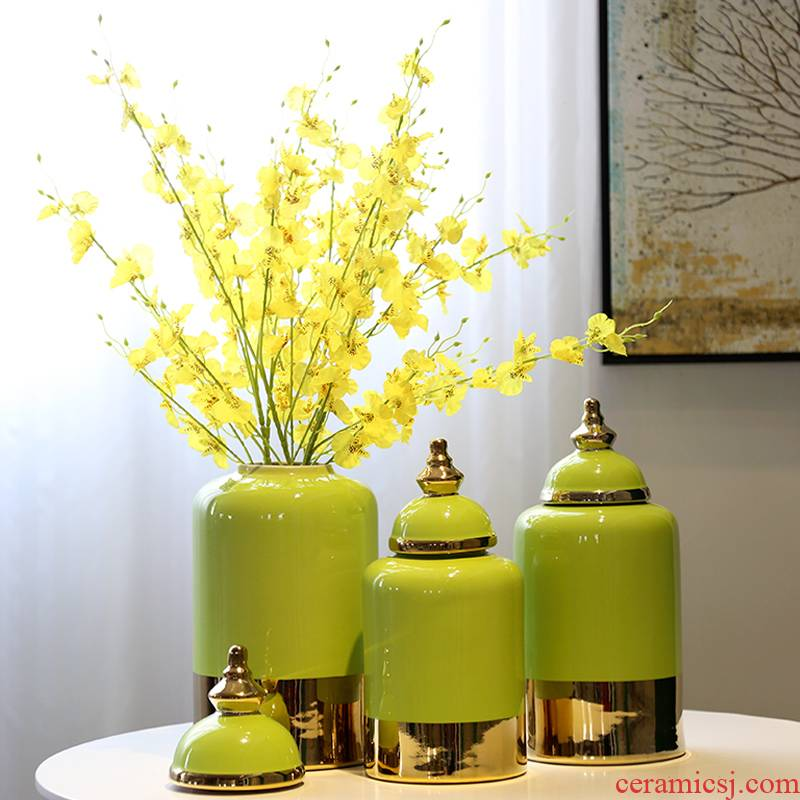 New Chinese style general ceramic pot vase floral outraged gold - plated candy jar piggy bank sitting room porch decoration flower furnishing articles