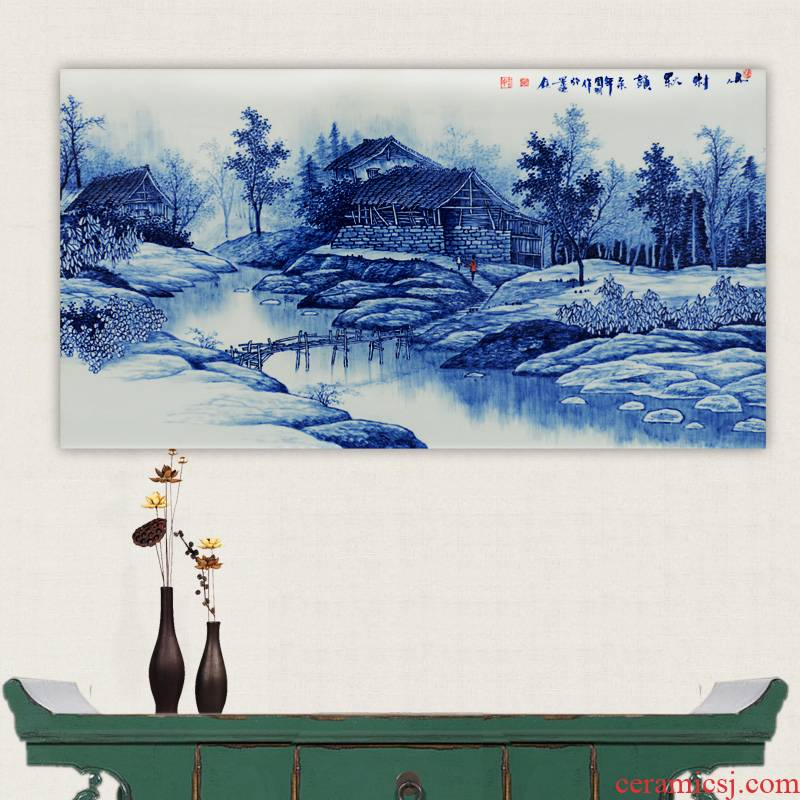 Jingdezhen ceramics hand - made cixin qiu - yun village of blue and white porcelain porcelain masterpieces by famous writers partition painter in the sitting room of handicraft