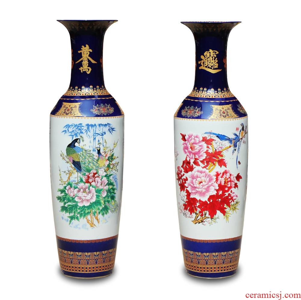 Jingdezhen ceramics powder enamel vase peony riches and honour the phoenix landing big hotel lobby sitting room adornment is placed