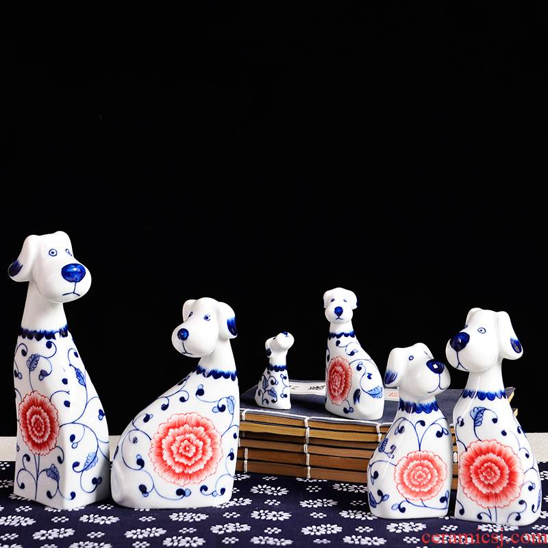Blue and white porcelain of jingdezhen ceramics animal furnishing articles household act the role ofing is tasted creative living room TV cabinet decoration decoration