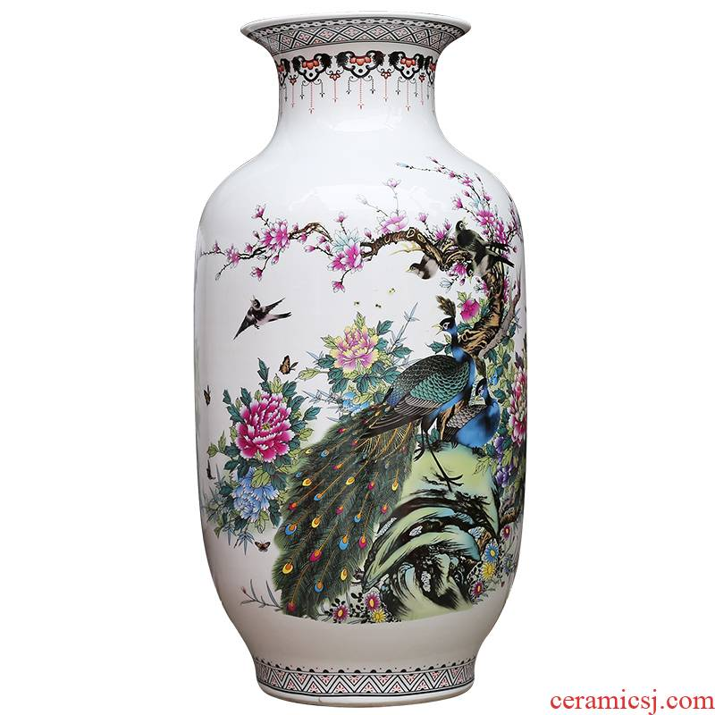 Jingdezhen ceramics powder enamel vase I household adornment rich auspicious sitting room ground hotel furnishing articles