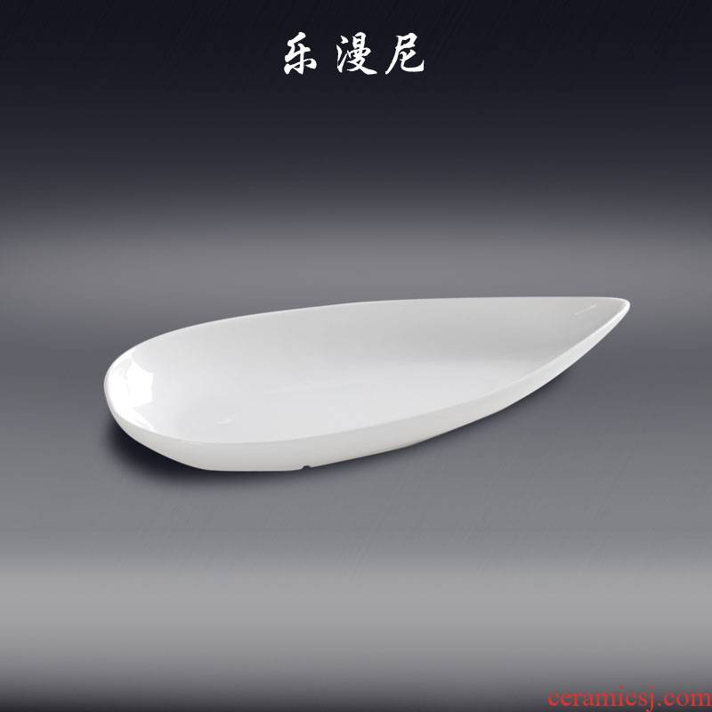 Joy, to live through the torpedo deep dish profiled pure white ceramic dish water hot abnormity