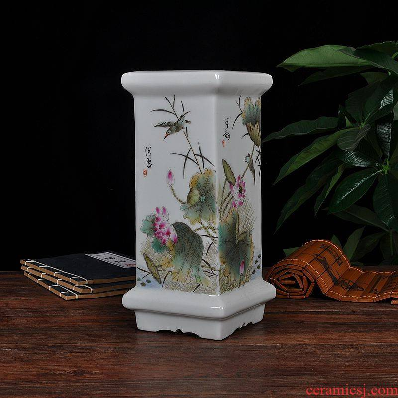 Scene, jingdezhen ceramic furnishing articles hand - made archaize square usual calligraphy and painting tube study office decoration
