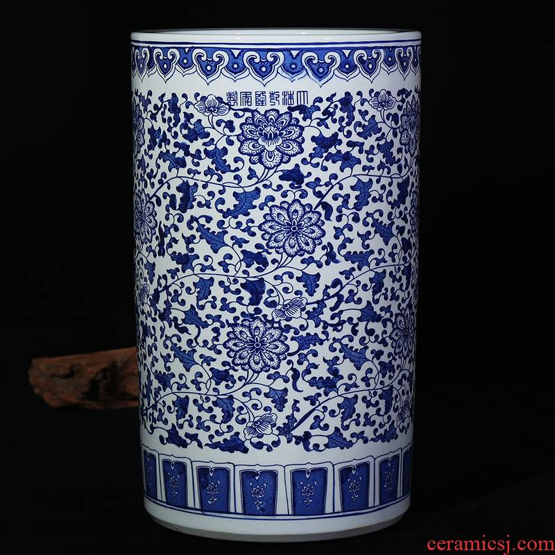 Jingdezhen ceramic vase quiver of blue and white porcelain painting and calligraphy tube branch lotus classical landscape of modern home living room furnishing articles