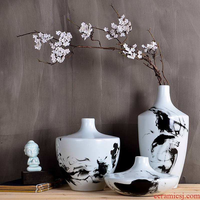 Z022 new Chinese style ceramic vase furnishing articles creative home sitting room simulation flower zen tea taking flowers, three - piece suit