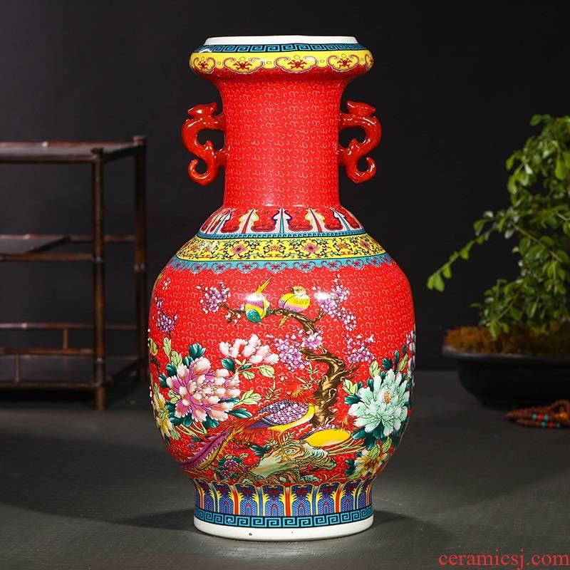 Jingdezhen ceramics ceramic vase household living room TV cabinet porch decoration floor vase furnishing articles