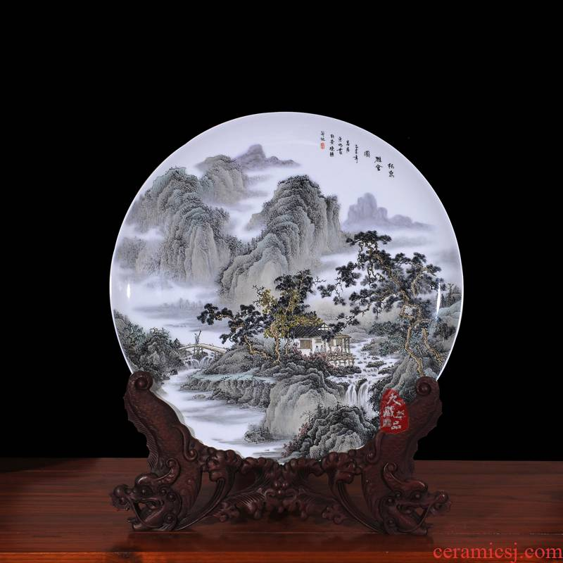 Jingdezhen ceramic dong - Ming li hand - made Lin Quanya can porcelain plate painting decorative hanging dish household crafts are sitting room