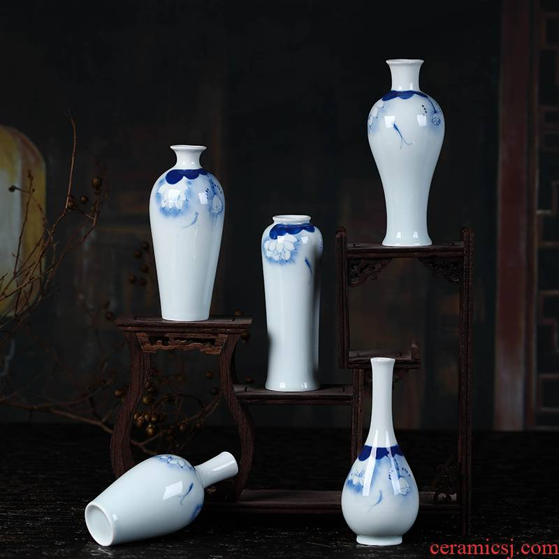 Jingdezhen ceramics mini checking blue glaze furnishing articles floret bottle flower familiar flower implement small ornament