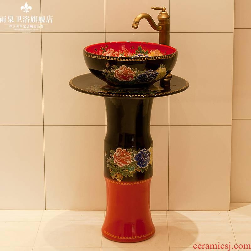 Spring rain jingdezhen ceramic column basin floor balcony sink art toilet lavatory ou of the basin that wash a face