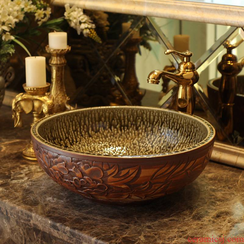 Spring rain on restoring ancient ways of jingdezhen ceramics basin of its art lavabo archaize toilet basin is the basin that wash a face